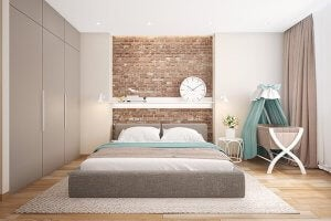 Brickwork in bedroom.