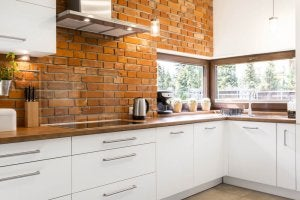 Brickwork in the kitchen.
