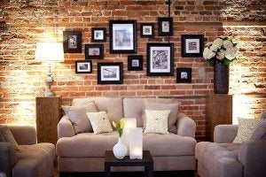 Photos on wall.