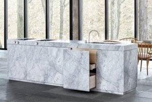 Carrara marble.