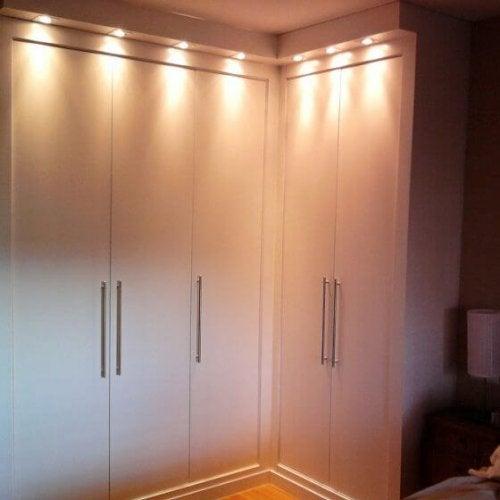 Lighting above closet doors.