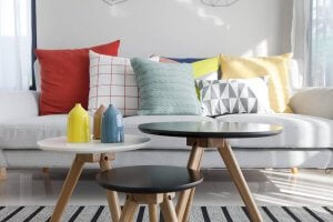 A wild combination of cushions of different colors and sizes.