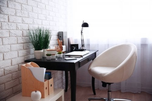 A simple but functional desk in an office.
