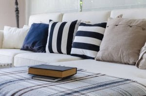 Cushions of different patterns are placed side by side.