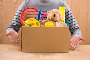 Donating toys.