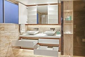 Bathroom drawers.