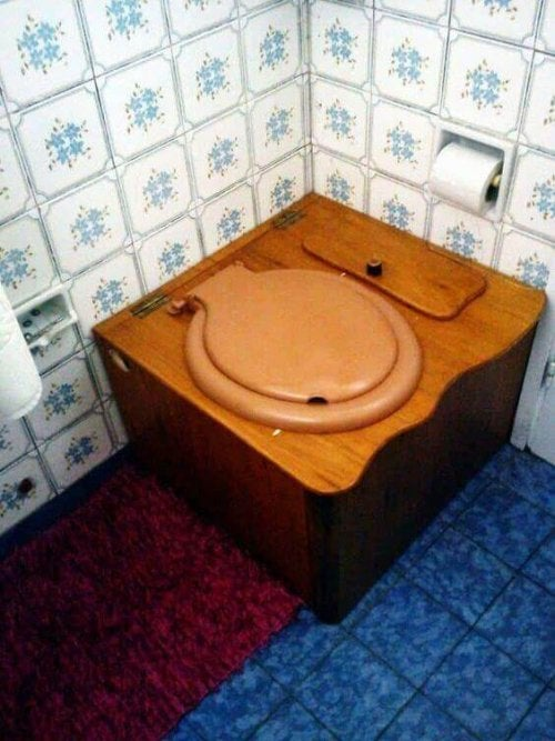 A wooden ecological dry toilet.