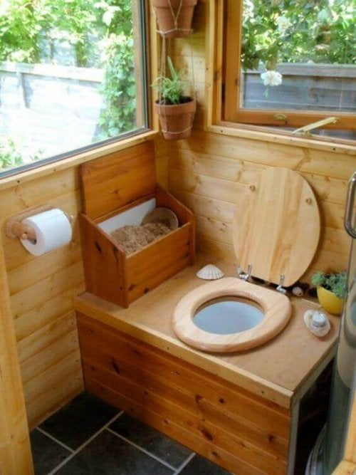 Ecological dry toilets are very innovative and popular at the moment. Here's a picture of one in a country house.