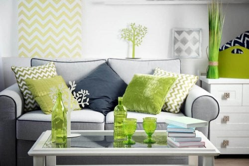 A green and gray living room.
