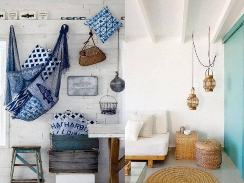 Nautical decorative elements.