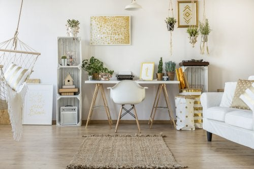 A home office painted in neutral colors.