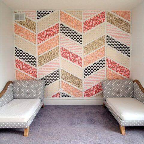A multi-colored fabric decorating a wall.