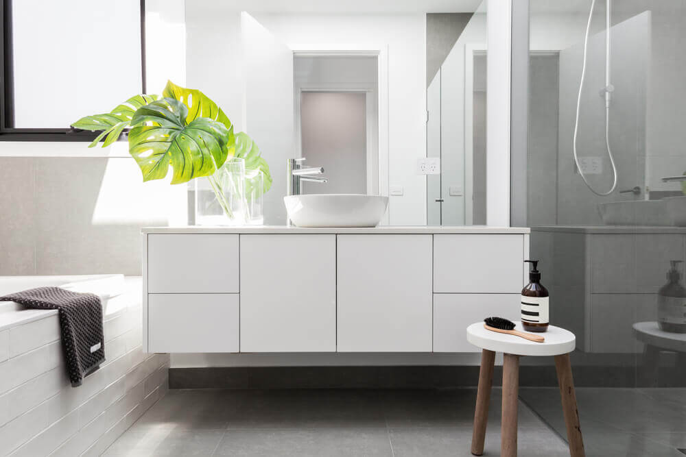 Using plants as decoration in the bathroom.