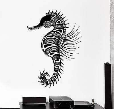 A drawing of a seahorse.