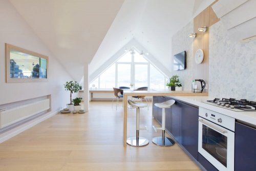 Sloped ceilings and garret decoration ideas.