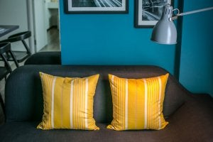 Matching cushions placed side by side on a small sofa