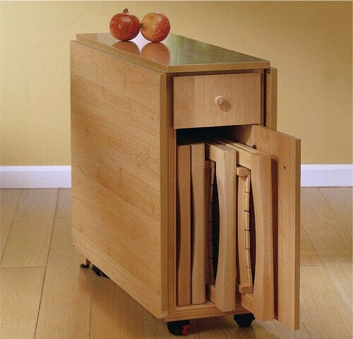 A wooden piece of furniture.