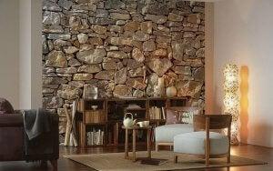 Brick wallpaper.