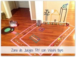 Designate play areas in your home using washi tapes.
