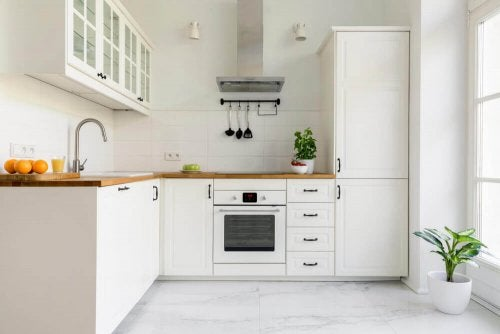 A white kitchen.