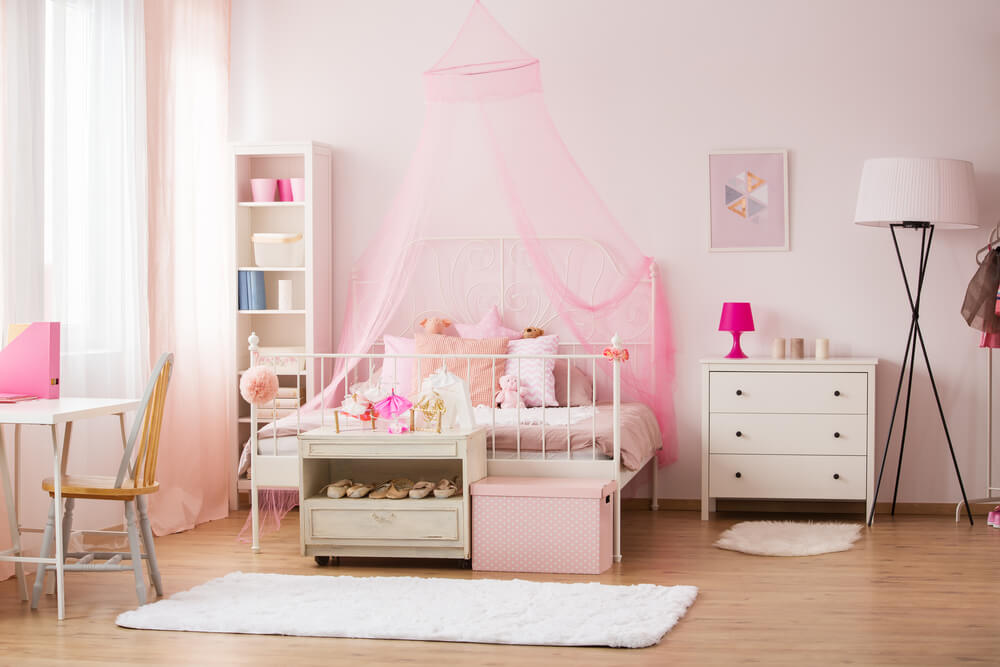 A pink and white room.