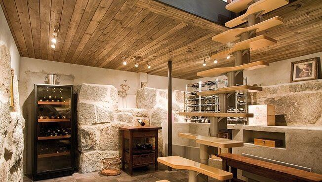 A wine cellar in the basement.