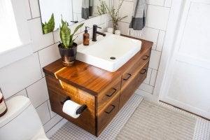 A wooden bathroom unit.