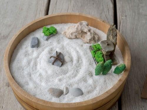 A Zen garden with white sand.