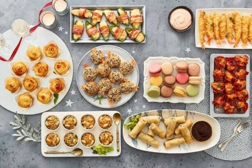 Summer party food buffet.