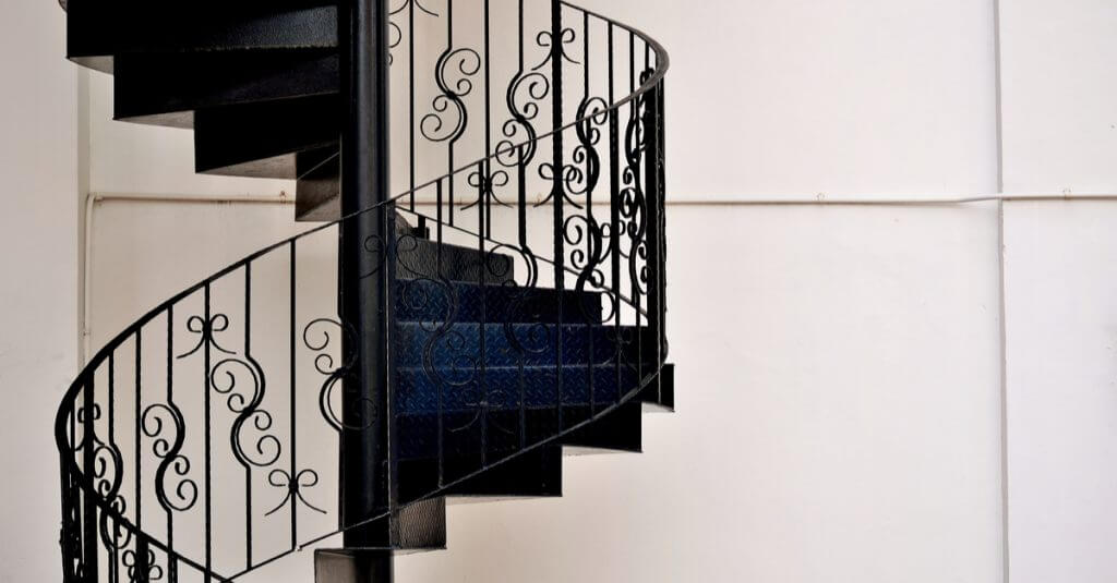 A metal staircase.
