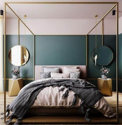 A large bed in art deco style with a frame around it