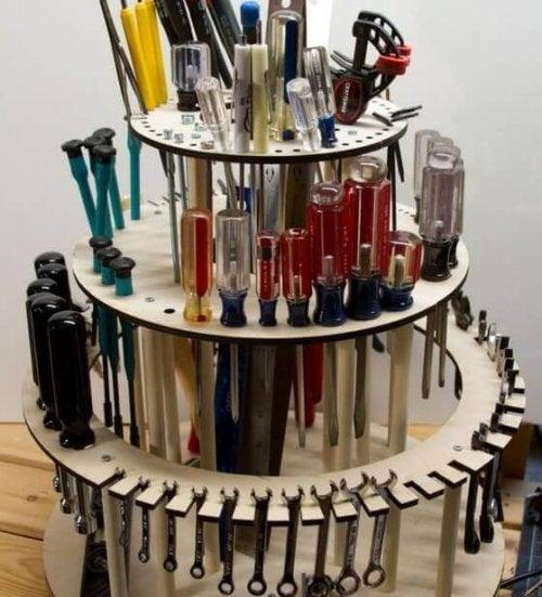 A circular organer full of household tools.