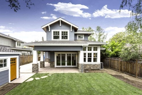 One of the craftsman-style homes with a spacious backyard.