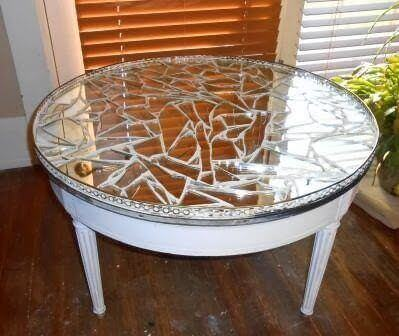 A table decorated with a crystal puzzle.