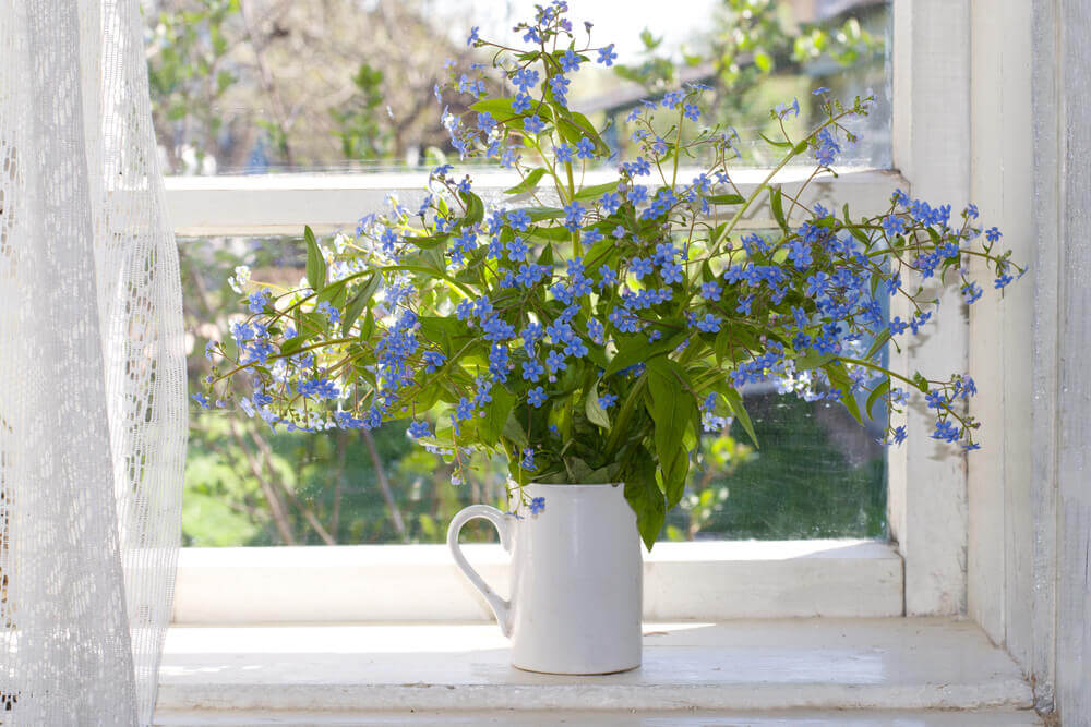 A window with white curtains and flowers.