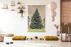 A wabi sabi style living room.