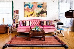 A boho chic style living room.