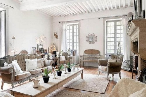 A Frenchified living room.