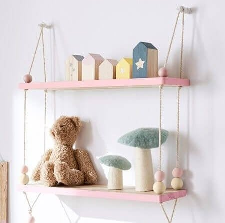Hanging storage lets your display several accessories for a child's room.