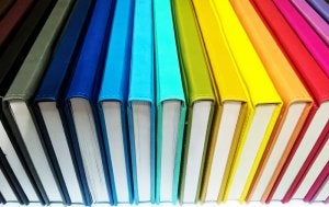 Color code the books on your shelf for aesthetic effect.