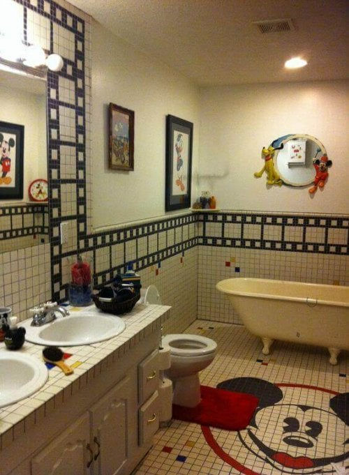 A Mickey Mouse-themed bathroom.