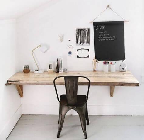 A minimalist rustic desk.