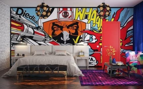 Bedroom with a bold mural painted on the wall.