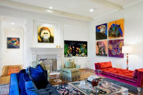 Living room with many colors in the pop style