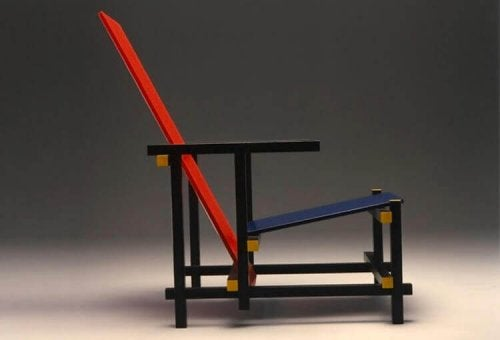A red and blue chair