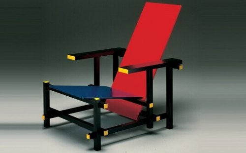 The Red and Blue Chair at an angle.