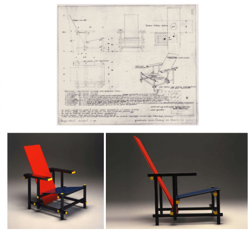Blueprint and two views of the chair