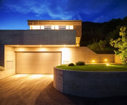 Retractable lighting in the exterior of a home.