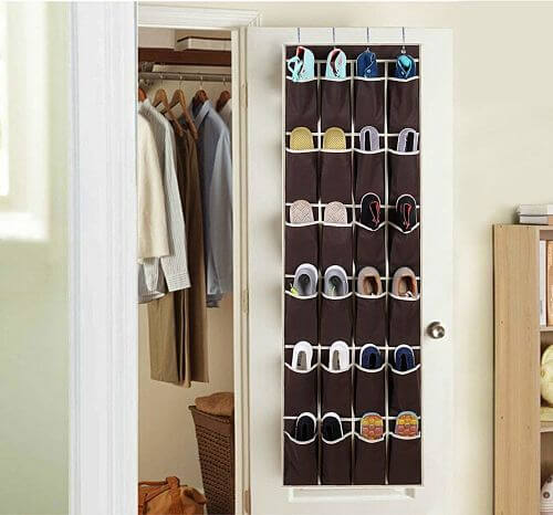 Placing a shoe rack behind a door can help you get more closet space.