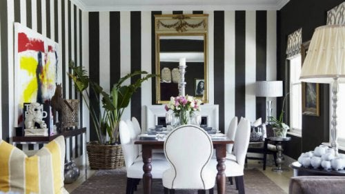 Striped walls are the best product of this color combination.